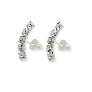 Genuine Sterling Silver Half hoop Cubic Zirconia Stud Earrings (SE0411)