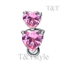 T&T Reverse Pink CZ Double Heart Belly Bar Ring BL514B