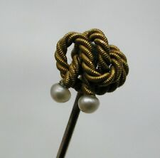 Antique 15ct Gold And Seed Pearl Knot Stick Pin