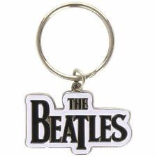 The Beatles Drop T Logo Blanc Métal Porte-Clés - Rock Musique Cadeaux