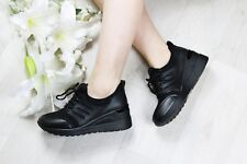 LADIES WOMENS LACE UP INNER HEEL WEDGE TRAINERS PLATFORM ANKLE BOOTS SHOES SIZE
