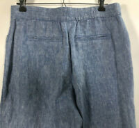 Chicos Women's Size 0 Petite 100% Linen Straight Relaxed Trouser Pockets Pants