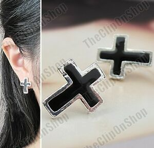 COMFY U CLIP earrings BLACK CROSS silver tone CHRISTIAN fake studs NON-PIERCED