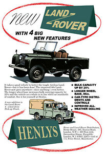 Vintage Style 1954 Land Rover Pick-up 4x4 Retro Advert Gift A4, A3, A2 Poster