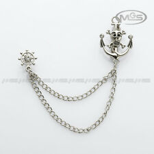 Brooch Silver Skull Pirate Anchor Wheel Suit Corsage Lapel Pin Chain Gift