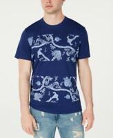 American Rag Men's Crewneck Short Sleeve Colorblocked Floral T-Shirt (Blue, 2XL)