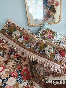 Antique victorian needlework plushwork beadwork tapestry bolster cushion pillow