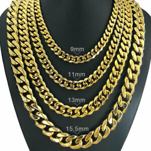 210g Heavy Men's 18k gold vacuum plating Solid Cuban Curb Chain necklace