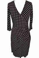 Joseph Ribkoff Faux Wrap A Lline Dress Sz 4 Brown White Polka Dot 3/4 Sleeve