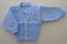 5-7lbs Boys Premature Tiny Baby Cardigan Hand Knitted Blue Rib