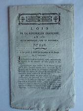 LOIS sur la Police de la BOURSE N° 198 AN IV 28 Vendemiaire