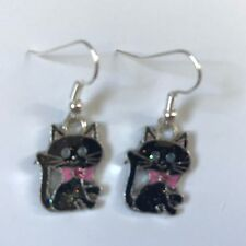 LUCKY BLACK CAT ENAMEL EARRINGS SILVER PLATED HOOK  Cute present in gift bag