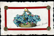 BONNE ANNEE / PANIER Fleurs MYOSOTIS & OISEAU / AJOUTIS CHROMO & RUBAN de soie