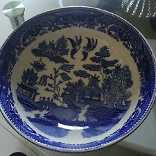 Vintage Allertnos Flow Blue Willow China Chinese Pagoda Big Serving Bowl
