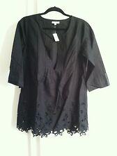 Gap Body Black Cotton Tunic w/Eyelet Detail, 3/4 Sleeve, Size S, NWT