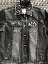 Frazzle Embellished Distressed Black Denim Women's Jean Jacket #555742 Sz.SM NWT