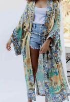 Vintage kimono 70s psychedelic floral long robe duster coat