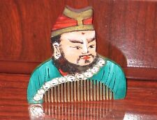 Vintage Small Chinese Painted Yak Horn Hair Comb❤Asian Warrior * Warlord ❤ RARE