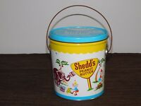 """VINTAGE 6 1/4"""" HIGH SHEDD'S PEANUT BUTTER TIN METAL CIRCUS ANIMALS PAIL *EMPTY*"""
