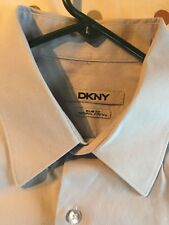 DKNY Slim Fit Stretch Blue Gray Mens Dress Shirt  Sz 16 34/35