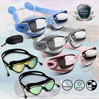 Swimming Goggles Clear Glasses UV Protection Anti Fog Earplugs Adjustable Mask