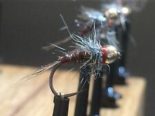3x Polish pheasant tail nymph sz 18 tungsten bead fly fishing trout grayling