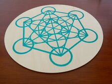 10 Inch Wooden Sacred Geometry Crystals Grid Metratron's Cube Teal