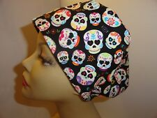 """WOMENS SURGICAL_SCRUB HAT_CAP_sugar_skulls_white_painted_colorful_1/2"""" -1"""""""