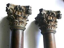 More details for good pair of  oak longcase clock hood pillars c1760