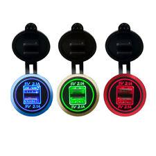 5V 4.2A Dual USB Charger Socket Adapter Outlet for 12V 24V Motorcycle Car 3Color