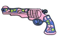 Peace Gun Iron On Patch-  Hippy Flower Love Embroidered Badge Applique Crafts