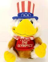 Uncle Sam Bald Eagle I love the Olympics Plush Stuffed Animal Applause 1980 VTG