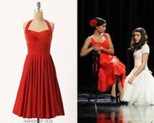 Anthropologie Girls from Savoy Rodna Red Velvet Halter Swing Dress 8 M L RARE
