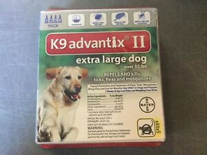 K9 ADVANTIX II FLEA AND TICK CONTROL DOGS OVER 55 LBS- 4 PACK- NEW IN BOX- USA