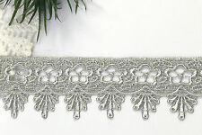 """1.75"""" Embroidered Plum Pink Lilac Yellow gold Gray Black Blue Red Lace DIY Trim"""