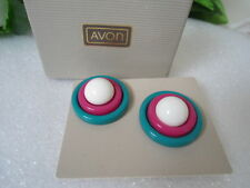 USA AVON Vintage RETRO Button Earrings Convertible into 4 Styles Chunky Bold