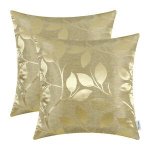 2Pcs Gold Cushion Covers Pillows Shells Vibrant Growing Leaves Car Decor 45x45cm