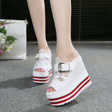 Ladies Open Toe High Wedge Platform Lace Buckle Slippers Sandals Creepers Shoes