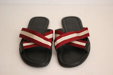 Bally Bonks Trainspotting Stripe Fabric Slide Sandal- Red/White/Black- 12US (C89