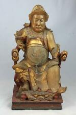 Antique Chinese Carved Wood Gilt Statue Of A Man