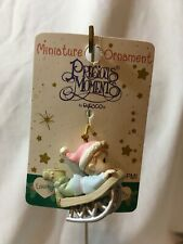 New Vintage 2000 Precious Moments Mini Christmas Ornament Boy on Sled #330329