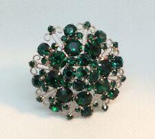 Silver Tone Vintage Rhinestone Brooch, Emerald Green 3D Pin, 5 Levels, Julianna