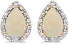 10 Quilates Oro AMARILLO Pera ópalo y Diamante Pendientes