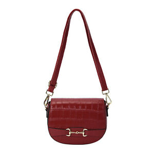 Wine Red Genuine Leather Embossed Texture Crossbody Bag with Shoulder Strap