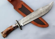 Custom Handmade Damascus steel Hunting Bowie Knife with Color Camel Bone Handle