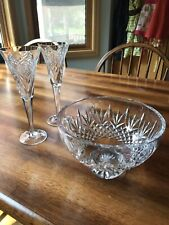 Waterford Crystal Millennium Champagne Toasting Flutes & Footed 8� Bowl