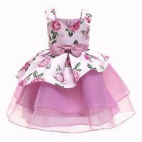 Girl's Mesh Vest Princess Dresses Wedding Party Flower Girl Formal Kid Xmas Gift
