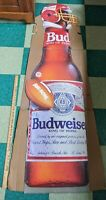 1990 Huge Cardboard Budweiser Beer Advertising Sign Bud Super Bowl VTG 73x27