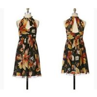 Anna Sui X Anthropologie Nagia Iris Silk Floral Dress Size 2 $248