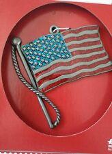 Holiday Time- USA Flag- Sparkly- CHRISTMAS TREE ORNAMENT- Metal-New